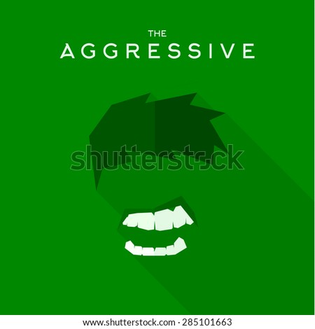 Mask Aggressive villain flat style icon vector logo, illustrations - stock vector