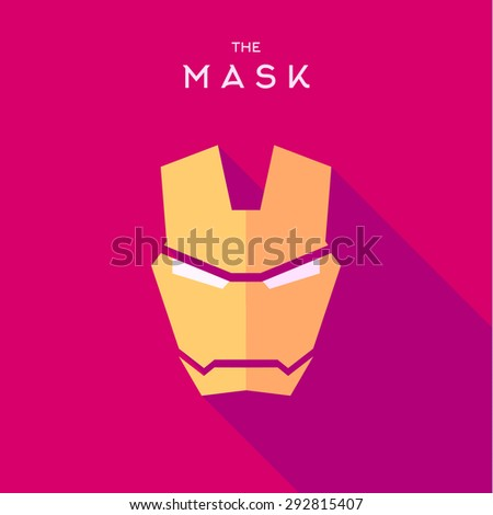 Mask Hero superhero flat style icon vector logo, illustrations, villain  - stock vector
