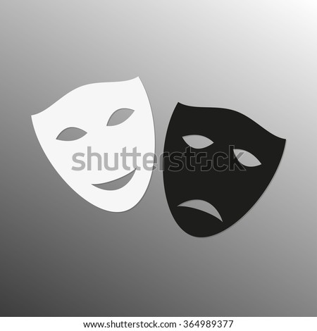 Mask icon. Theater symbol. Happy and sad masks. Black and white theatrical masks. Carnival masks. Vector illustration. - stock vector