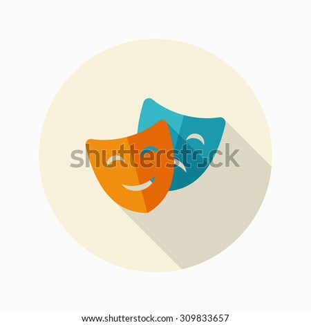 Mask icon, vector illustration. Flat design style with long shadow,eps10 - stock vector