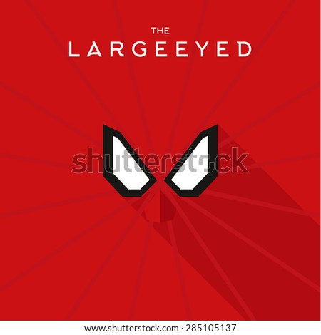 Mask Large eyed Hero superhero flat style icon vector logo, illustrations, villain - stock vector