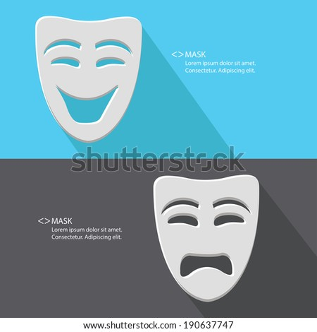 Mask,Smile & Sad,blank for text,vector - stock vector