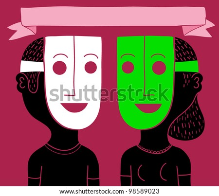 masked couple - stock vector