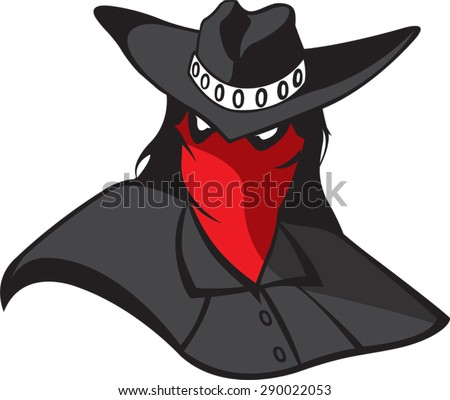 Masked Renegade  Cartoon masked outlaw. Vector file - stock vector