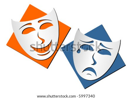Masks representing theatre comedy and drama over white background - stock vector