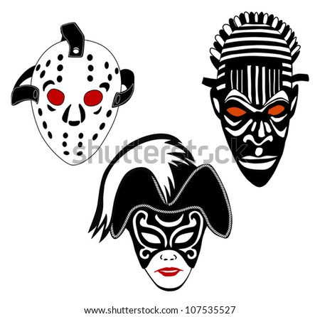Masks, set of vintage ice hockey, Venice and African masks, vector illustration - stock vector