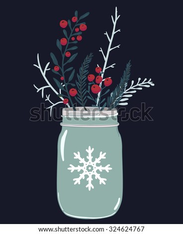 Mason jar and winter composition of red berries, holly and branches of fir. Christmas card vector illustration.  - stock vector