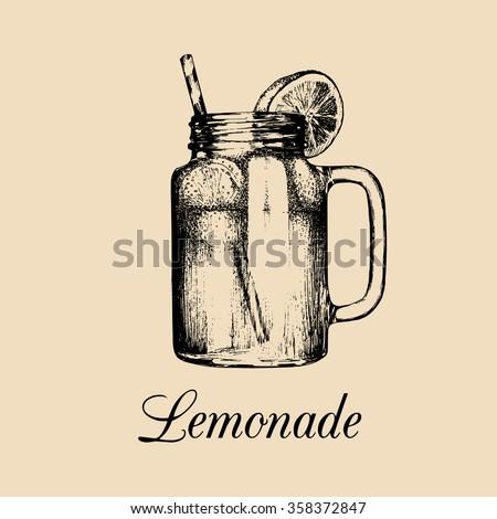 Mason jar sign. Vector illustration of homemade lemonade. Hand drawn sketch of mason jar with straw and slice of lemon. Non-alcoholic drink. Restaurant, bar menu design. - stock vector