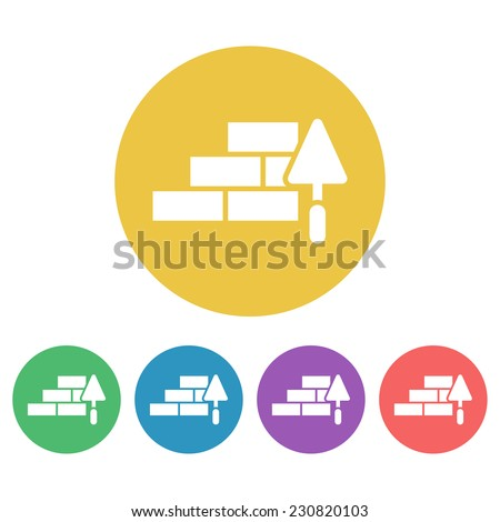 masonry and trowel set vector colored round icons - stock vector