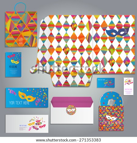 masquerade cards and invitation set  with carnival masks different forms, or for any occasion, includes folder A4, envelope, business card and postcard, eps 10 - stock vector