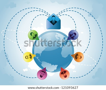 Mass email goes out to constituents around the globe - stock vector