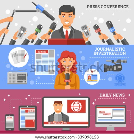 Mass media horizontal banners set with press conference journalistic investigation and daily news symbols flat isolated vector illustration  - stock vector