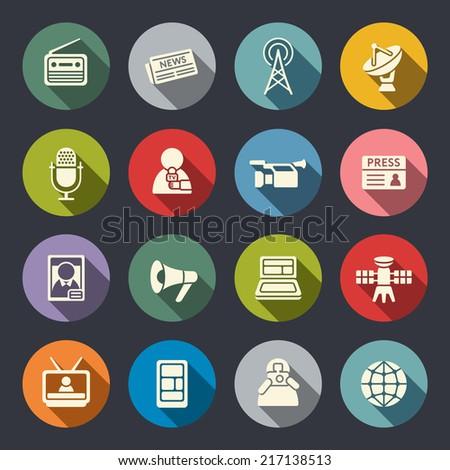 Mass media icon set - stock vector