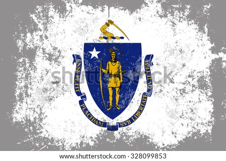 Massachusetts grunge, old, scratched style state flag - stock vector