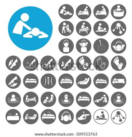 Massage icons set. Illustration EPS10 - stock vector
