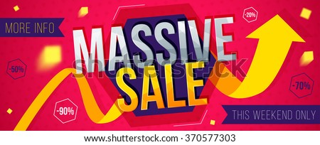 Massive sale banner. Sale and discounts. Vector illustration - stock vector