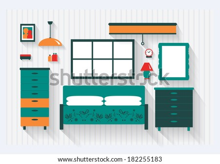Master Bedroom with Bed Dresser Furniture and Fittings Long Shadows  - stock vector