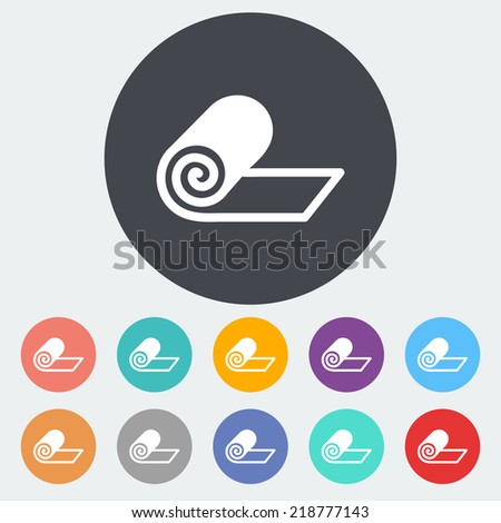Mat for fitness. Single flat icon on the circle. Vector illustration. - stock vector