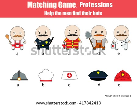 Match men with hats children educational game. Learning professions theme for kids books, worksheets with answer. Matching game, vector illustration - stock vector
