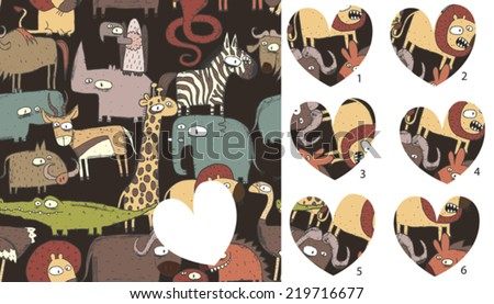 Match pieces, visual game. Solution in hidden layer! Illustration is in eps8 vector mode! Each elements are isolated and on separate layers. - stock vector