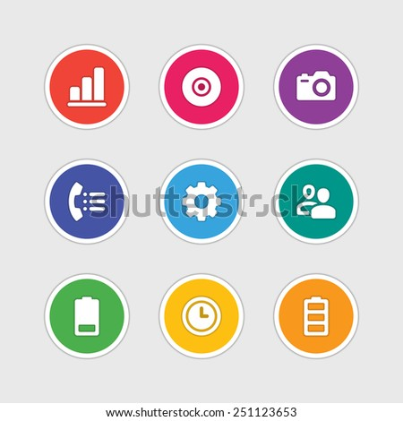 Material design style icons vector sign and symbols: Graph, CD, Photo camera, Telephone, Gear, Users, Battery, Clock. Elements for website, web banners, mobile apps, ui and other design.  - stock vector