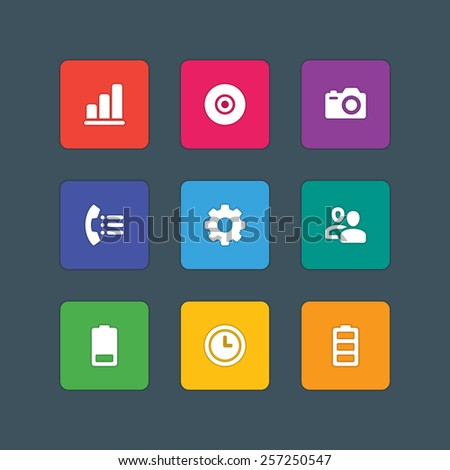 Material design style icons vector sign and symbols Graph, CD, Photo camera, Telephone, Gear, Users, Battery, Clock. Elements for website, web banners, mobile apps, ui and other design.  - stock vector