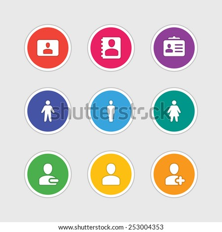 Material design style icons vector sign and symbols: User, Profile, People, Man, Woman, Contacts. Elements for website, web banners, mobile apps, ui and other design.  - stock vector