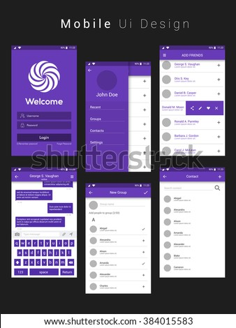 Material Design UI, UX, GUI Screens with flat web icons for mobile apps, responsive websites with Login Screen, Add Friends Screen, Message Preview Screen, Group Screen and Contact List Screen.  - stock vector