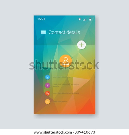 Material design vector user interface. Contacts app menu set of icons. Low poly colorful background. Eps10 vector illustration. - stock vector