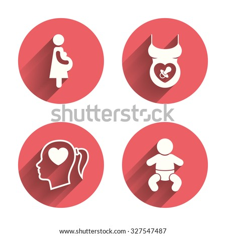 Maternity icons. Baby infant, pregnancy and dummy signs. Child pacifier symbols. Head with heart. Pink circles flat buttons with shadow. Vector - stock vector