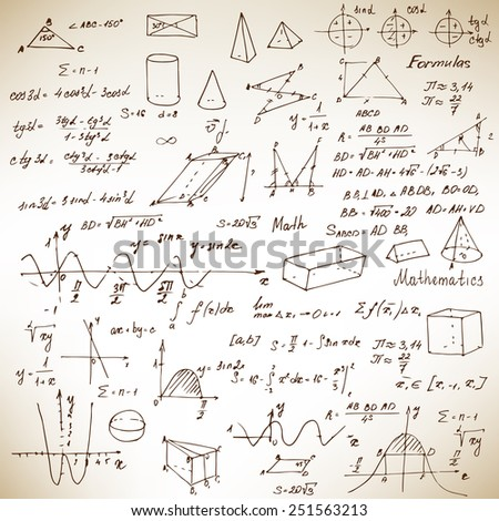 Math. Background with trigonometry formulas. Sketch on brown paper. Vector illustration. - stock vector