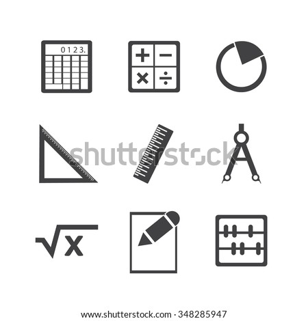 Math icon set. - stock vector