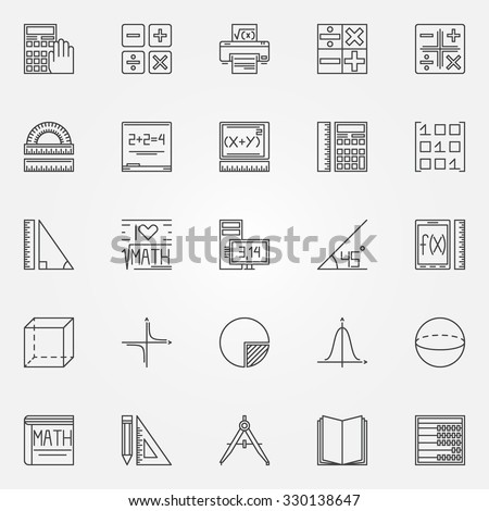 Math icons set - vector geometry, algebra and mathematics symbols or logo elements in thin line style - stock vector