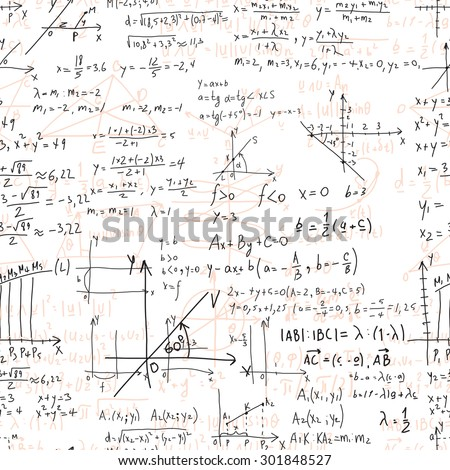 Math seamless pattern endless pattern with handwriting of various operations such as addition, subtraction, multiplication, division an calculations. Geometry, mathematics subjects. College lectures. - stock vector