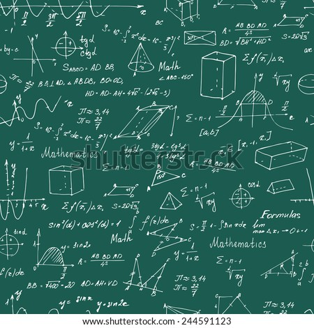 Math. Seamless pattern with trigonometry formulas. Chalk on a blackboard. Vector illustration. - stock vector
