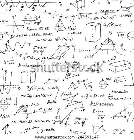 Math. Seamless pattern with trigonometry formulas. Vector illustration. - stock vector