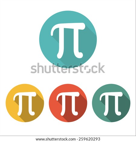 Mathematic Pi icon flat. Set of four color icons - stock vector