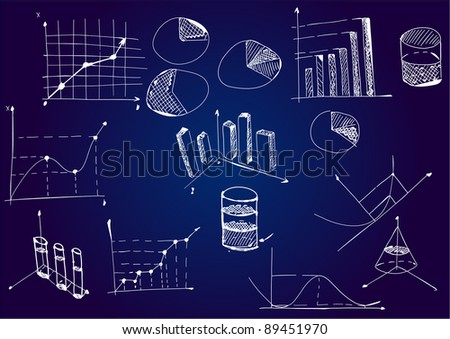 Mathematical diagrams and graphs on a blackboard - stock vector