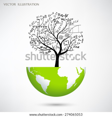 Mathematical equations and formulas on the tree growing on the globe. Mathematical concept. Vector illustration modern design template. - stock vector
