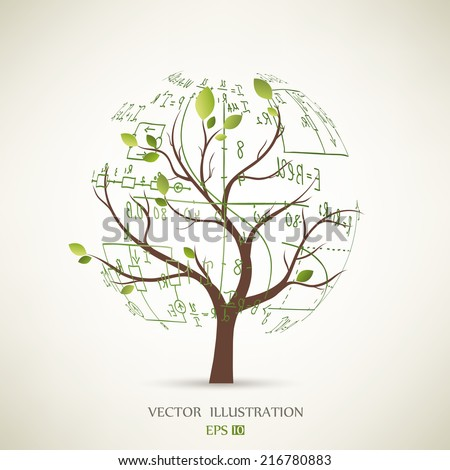 Mathematical equations and formulas on the tree  - illustration - stock vector