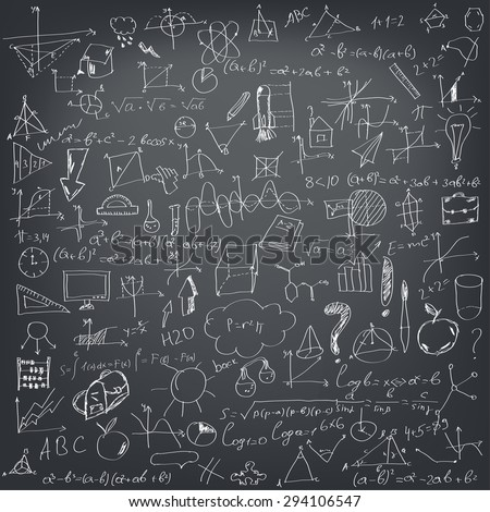 Mathematical formulas on a black school board - stock vector