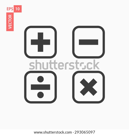 Mathematical Icon Set - Includes plus, minus, multiply, divide, equals and percentage icons. - stock vector