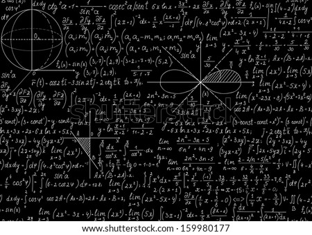 Mathematical seamless pattern with plots and equations. You can use any color of background - stock vector