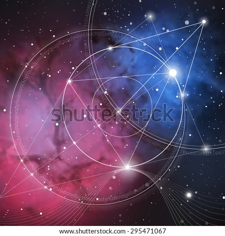 Mathematical symbols and digits in space. The formula of nature. Greek letters. There is no beginning and no end of the Universe, and no beginning and no end of the Life and the Bliss. - stock vector
