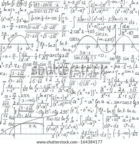 "Mathematical vector seamless pattern, ""handwritten on the copybook paper""  - stock vector"
