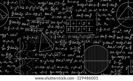 Mathematical vector seamless pattern with algebra plots, calculations, task solutions. Scientific vector background - stock vector