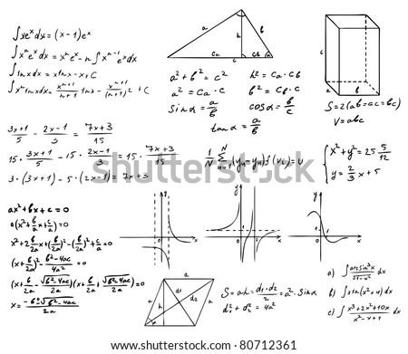 mathematics and geometry vector set - stock vector