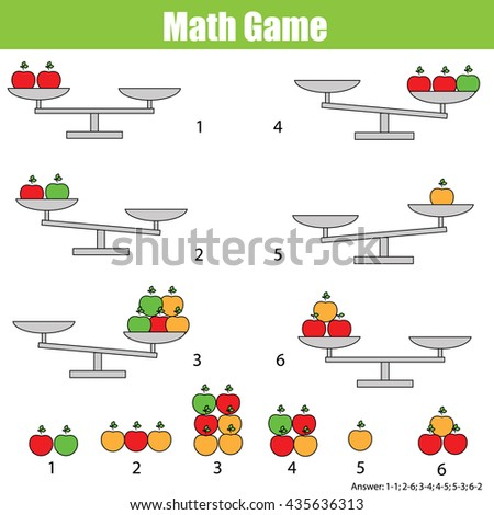 Mathematics educational game for children. Balance the scale. Learning counting, mathematical equation, weights and algebra - stock vector