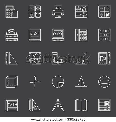 Mathematics icons set - vector collection of geometry, algebra, math signs or design elements - stock vector