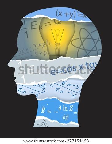 Mathematics physics student silhouette. Human Head silhouette with mathematics sand physics symbols. Vector illustration.  - stock vector